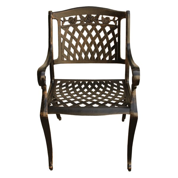 Casiano Rose Ornate Mesh Lattice Patio Dining Chair by Fleur De Lis Living