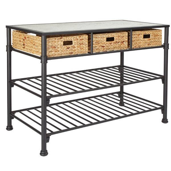 Gilliland Kitchen Island with Faux Marble Top by Gracie Oaks