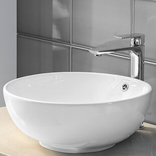 Compare Sublime II Ceramic Circular Vessel Bathroom Sink with Overflow By Swiss Madison