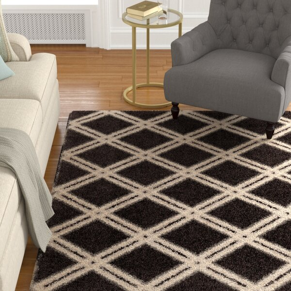Menominee Shag Black/Ivory Area Rug by Darby Home Co