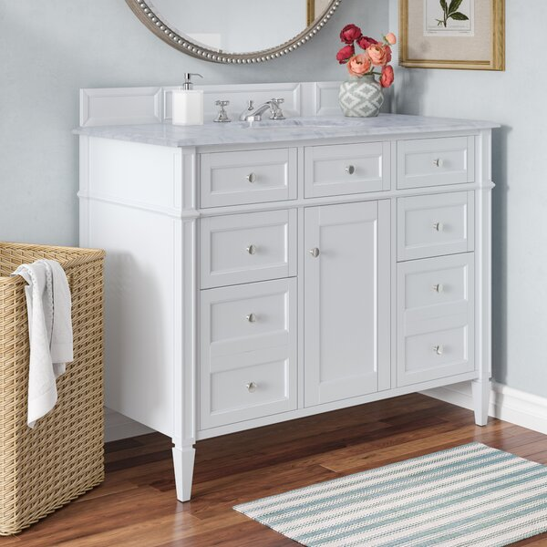 Deleon 48 Single Cottage White Marble Top Bathroom Vanity Set by Darby Home Co