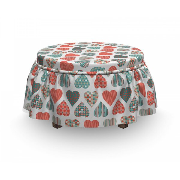 Valentines Retro Hearts 2 Piece Box Cushion Ottoman Slipcover Set By East Urban Home