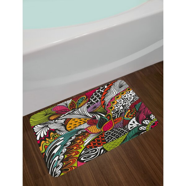 Garden Doodle Exotic Flowers Bath Rug by East Urban Home