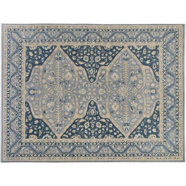Badham Hand-Knotted Wool Gray/Blue Area Rug by Bloomsbury Market