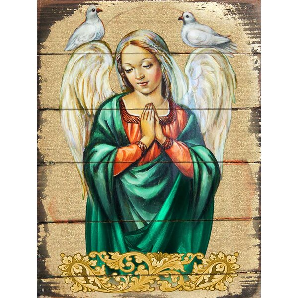 Inspirational Icon Praying Angel Painting by G Debrekht