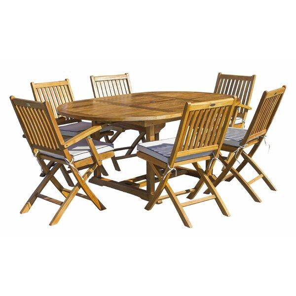 Voss 7 Piece Teak Sunbrella Dining Set with Sunbrella Cushions Bayou Breeze W001596379
