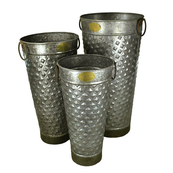 Jazlyn 3 Piece Metal Pot Planter by August Grove