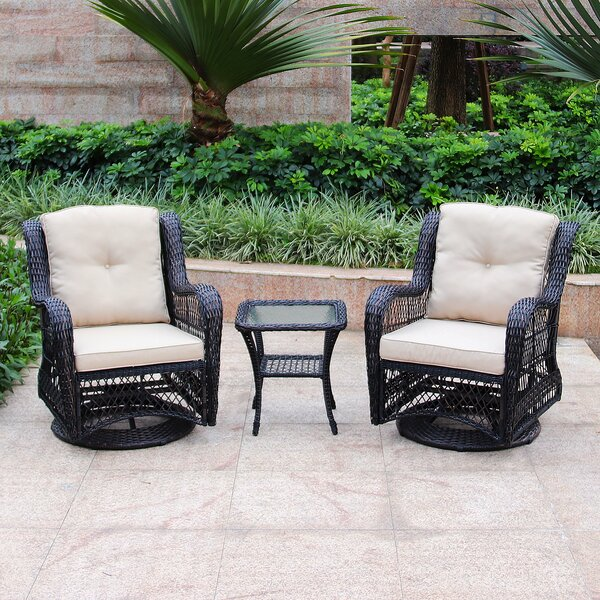 Kamren Swivel Conversation 3 Piece Seating Group Set with Cushions by August Grove