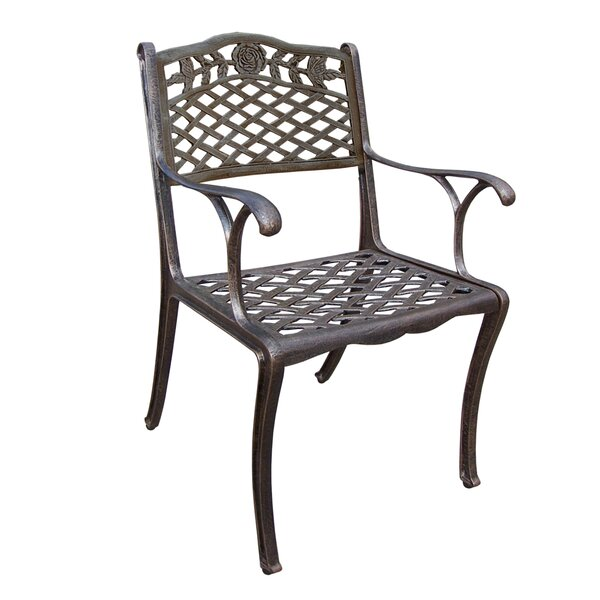 Thompson Cast Aluminum Patio Dining Chair by Fleur De Lis Living