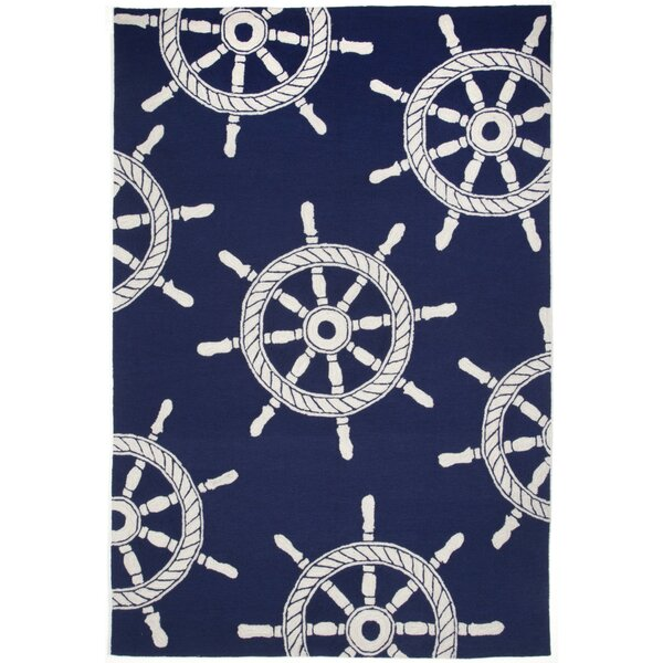 Walton Ship Wheel Navy Indoor/Outdoor Area Rug by Breakwater Bay