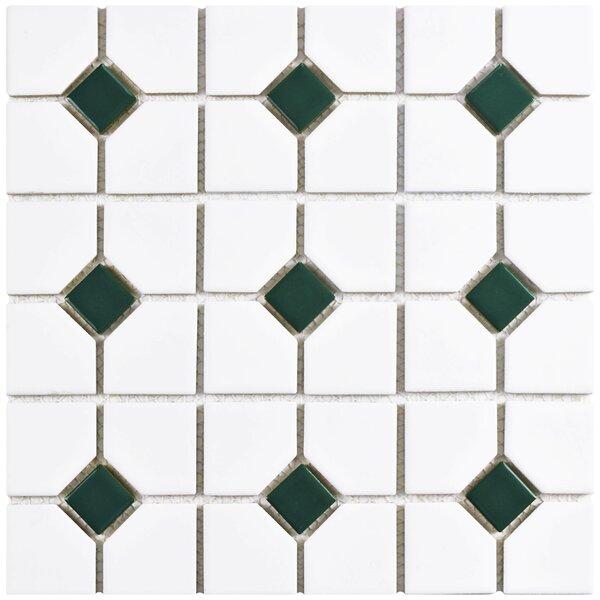Cambridge Random Sized Porcelain Mosaic Tile in Matte White/Green by EliteTile