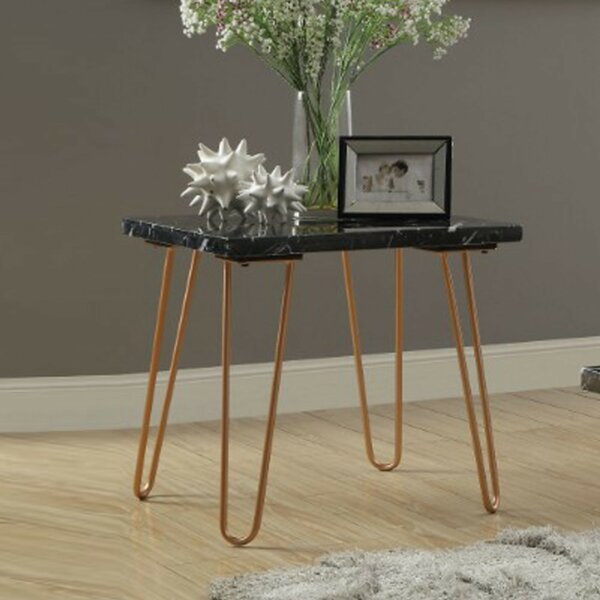 Joliet Black Marble Top End Table With Metal Hairpin Style Legs In Gold by Brayden Studio