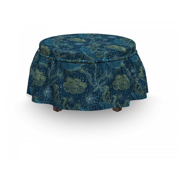 Whale Marine Fauna And Flora 2 Piece Box Cushion Ottoman Slipcover Set By East Urban Home