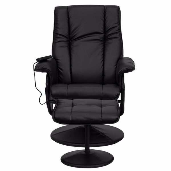 Leather Heated Reclining Massage Chair with Ottoman [Red Barrel Studio]