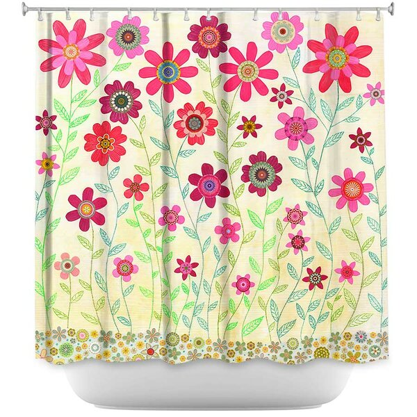 Retro Flowers Shower Curtain by East Urban Home