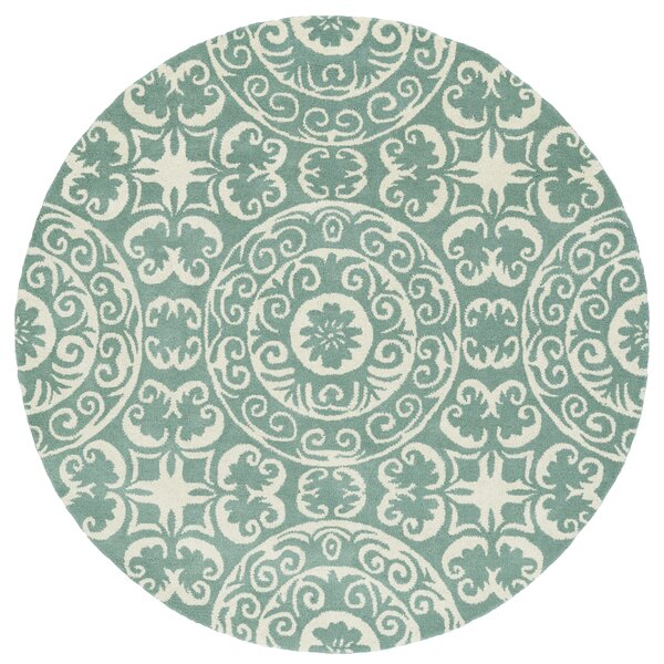 Corine Hand-Tufted Mint / Ivory Area Rug by Charlton Home