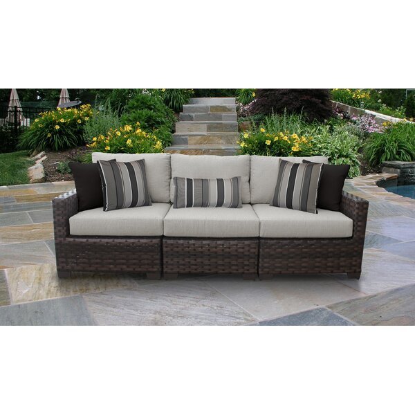 River Brook 3 Piece Outdoor Patio Sofa with Cushions by kathy ireland Homes & Gardens by TK Classics kathy ireland Homes & Gardens by TK Classics