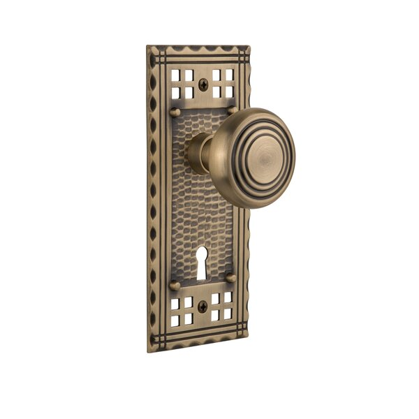 Deco Single Dummy Door Knob with Craftsman Plate by Nostalgic Warehouse