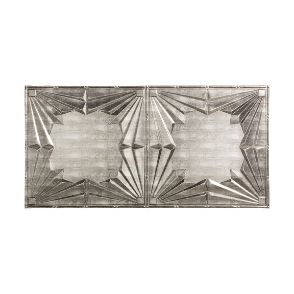 Art Deco 2 ft. x 4 ft. Glue-Up Ceiling Tile in Cross Hatch Silver by Fasade