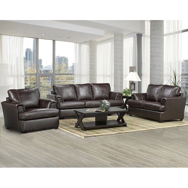 Royal Cranberry Leather Configurable Living Room Set by Coja