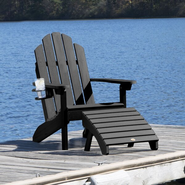 Highpoint Plastic Adirondack Chair with Ottoman by Alcott Hill Alcott Hill