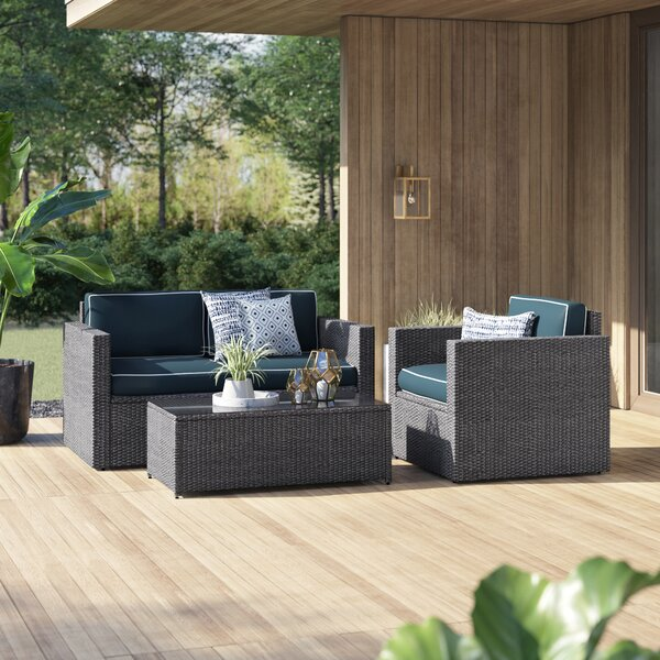 Belton 3 Piece Rattan Sofa Seating Group with Cushions by Mercury Row