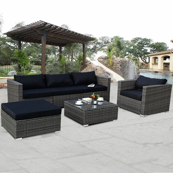 Biarritz 6 Piece Rattan Sectional Seating Group with Cushions by Ivy Bronx
