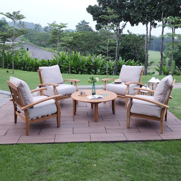 Summerton 5 Piece Teak Multiple Chairs Seating Group with Cushions by Birch Lane™ Heritage