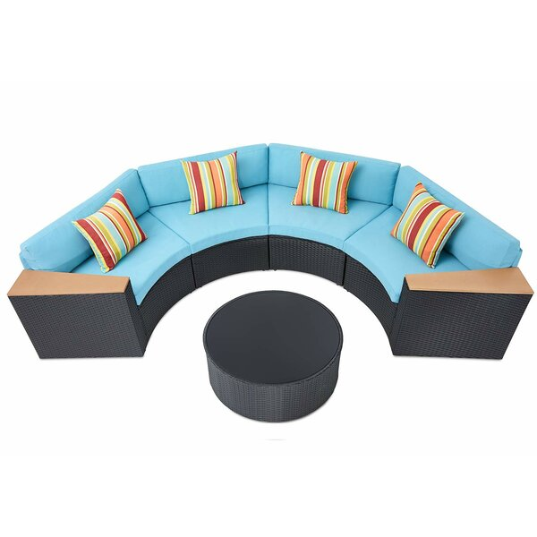Crelake 5-Piece Rattan Sectional Seating Group with Cushions by Bayou Breeze