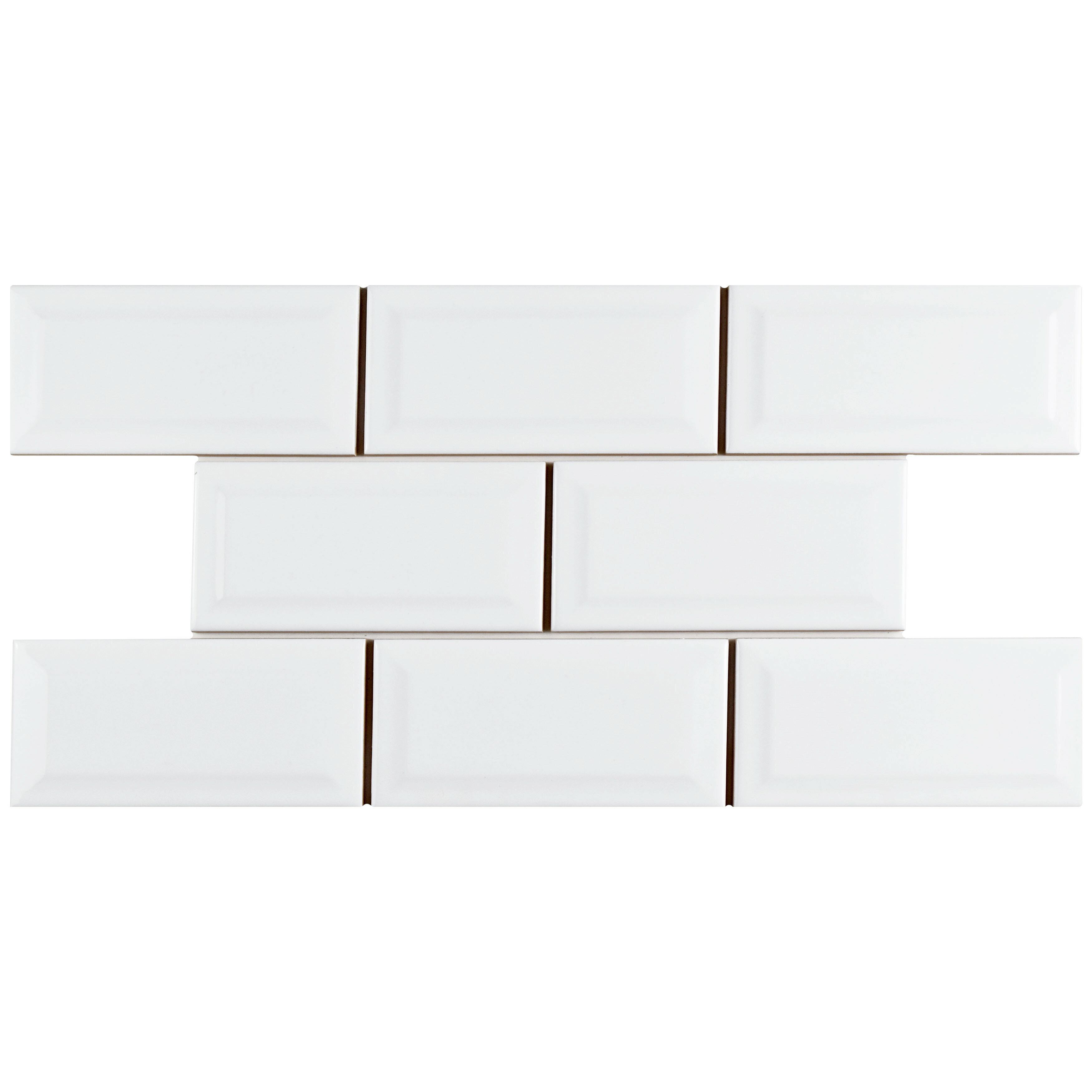 Elitetile prospect 3 x 6 beveled ceramic subway tile in glossy elitetile prospect 3 x 6 beveled ceramic subway tile in glossy white reviews wayfair dailygadgetfo Choice Image