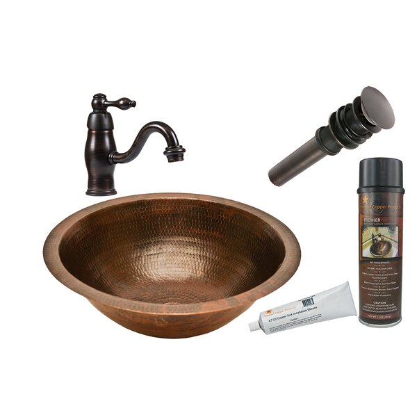 Metal Circular Undermount Bathroom Sink with Faucet