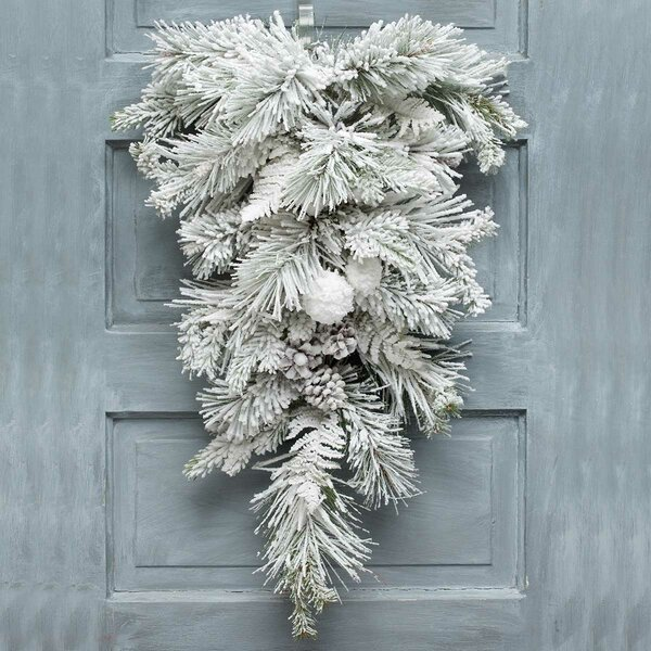 Arctic Snowball Pine Bough Swag by The Holiday Aisle