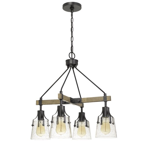 Yaiza 4 - Light Unique / Statement Rectangle Chandelier With Wood Accents By Gracie Oaks