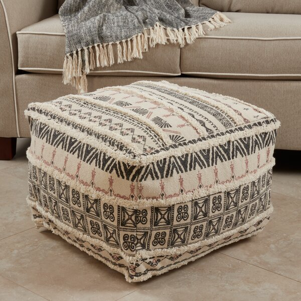 Cadey Printed And Tufted Design Cotton Pouf By Bungalow Rose