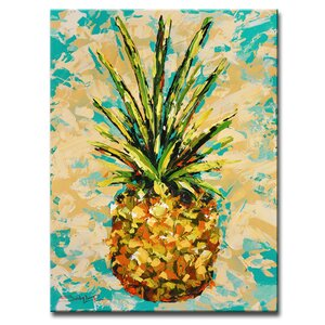 'Fiesta Pineapple' by Sarah LaPierre Painting Print on Wrapped Canvas by Ready2hangart
