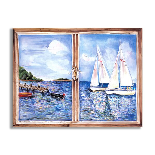 Sailboats Faux Window Scene Wall Plaque by Stupell Industries