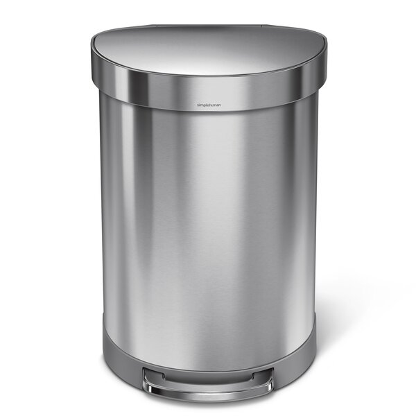 60 Liter Semi-Round Step Brushed Stainless Steel Trash Can by simplehuman