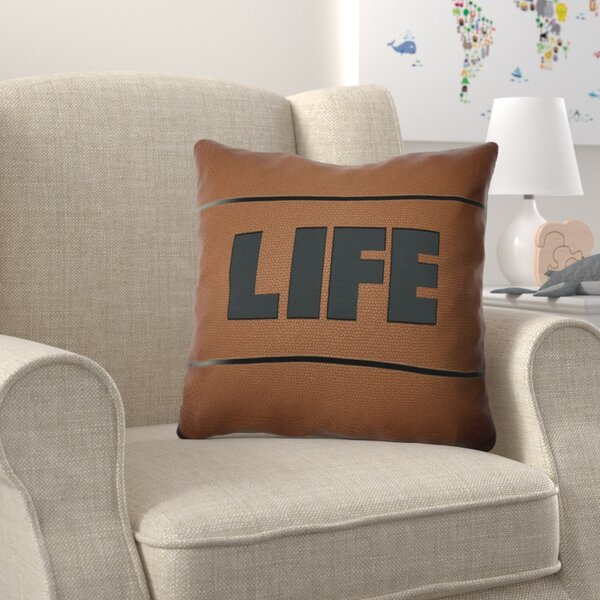 Bauer Life Word Outdoor Throw Pillow by Zoomie Kids