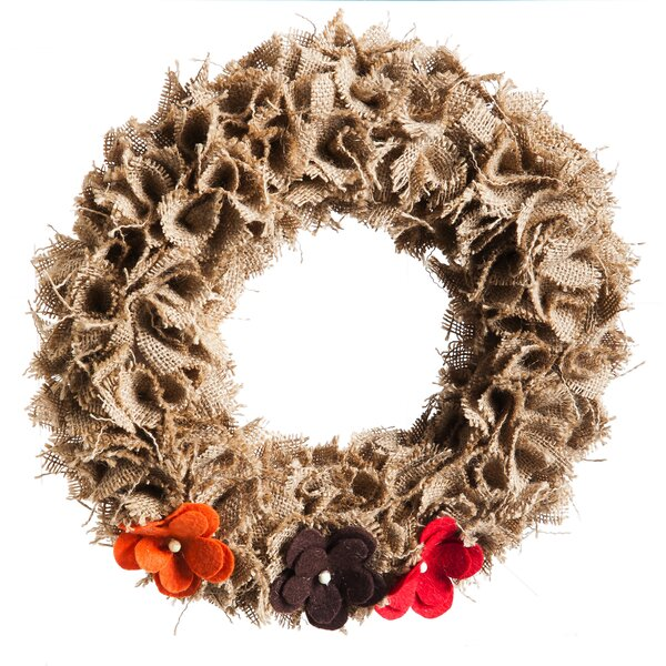 Burlap Wreath with Flowers by Cypress Home