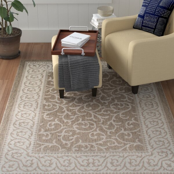 Morales All-Weather Floral Mocha Indoor/Outdoor Area Rug by Winston Porter