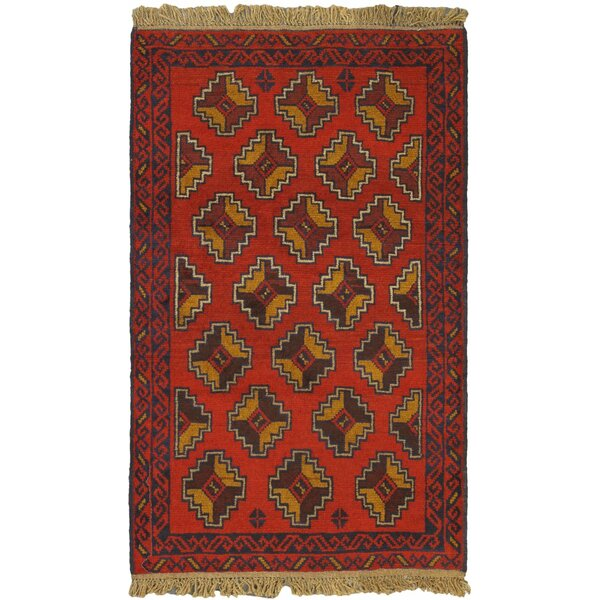One-of-a-Kind Ditto Hand-Knotted Wool Red/Brown Area Rug by Isabelline