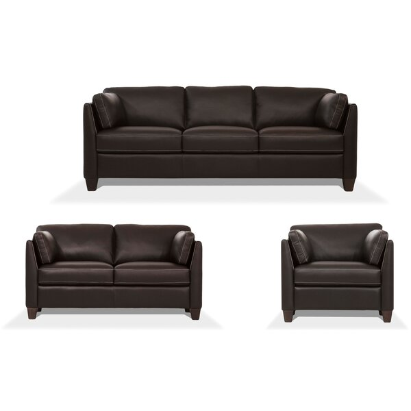 Review Arina 3 Piece Leather Living Room Set