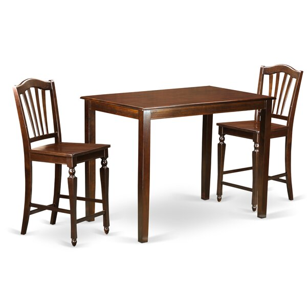 Yarmouth 3 Piece Counter Height Pub Table Set by East West Furniture