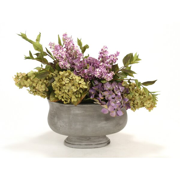 Lavender, Green Mix of Hydrangeas, Lilacs in Oval Concrete Planter by Distinctive Designs