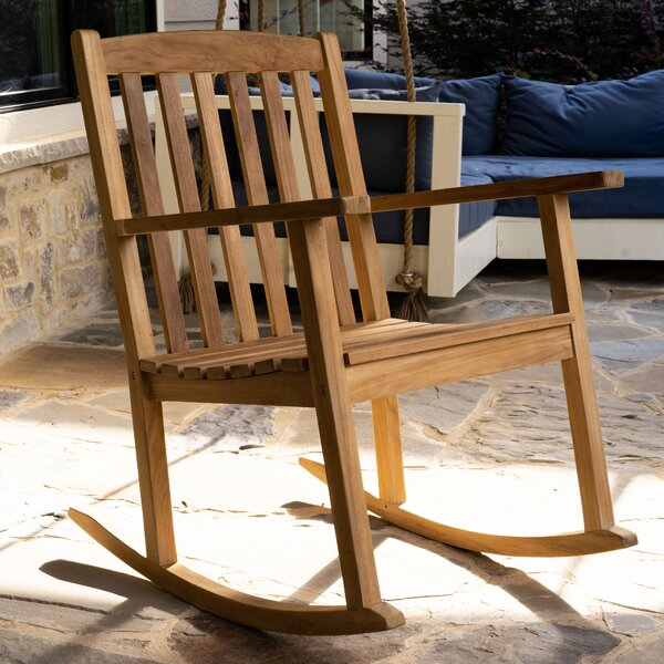 Coleman Classic Outdoor Teak Rocking Chair by Loon Peak