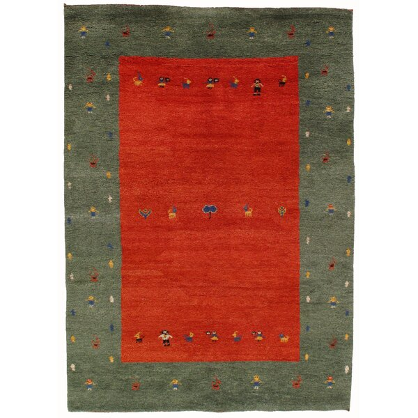 Gabbeh Hand-Knotted Red/Green Area Rug by Pasargad NY