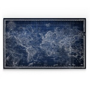 'Vintage Wold Map V' Graphic Art Print on Wrapped Canvas in Blue by Wexford Home