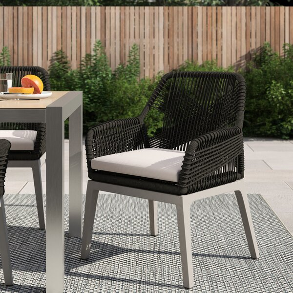 Philip Loom Patio Dining Chair with Cushion (Set of 2) by Foundstone