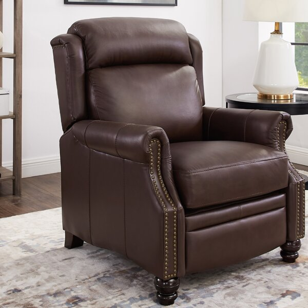 Yearwood Wingback Premium Leather Manual Recliner [Red Barrel Studio]