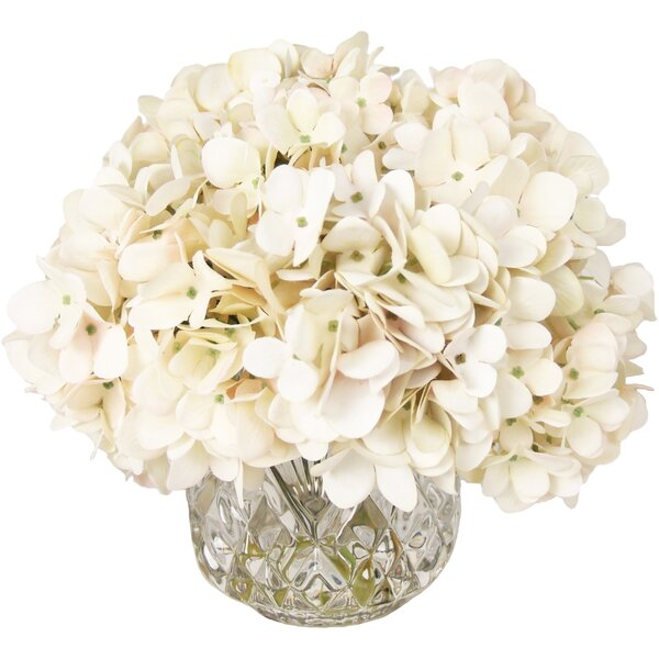 Hydrangea Bouquet Arrangement in Crystal Vase by Willa Arlo Interiors